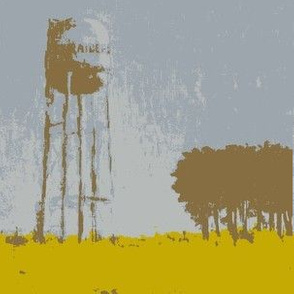 Water Tower Silhouette - Gray