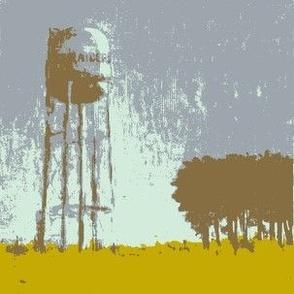 Water Tower Silhouette - Aqua