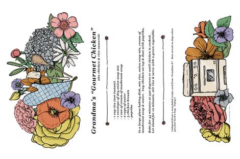 "Grandma's ""Gourmet Chicken"" Tea Towel fabric by eversosplendid on Spoonflower - custom fabric"