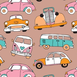 Vintage quirky oldtimers and car icons illustration pattern