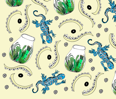terrariums and the lizards fabric by lclare_ on Spoonflower - custom fabric