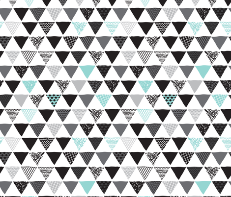 Geometric tribal aztec triangle blue modern patterns fabric by littlesmilemakers on Spoonflower - custom fabric