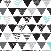 Geometric tribal aztec triangle blue modern patterns