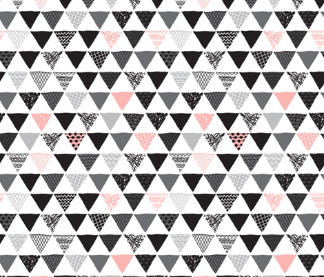 Geometric tribal aztec triangle pink modern patterns fabric by littlesmilemakers on Spoonflower - custom fabric