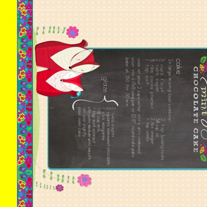 Chocolate Cake Recipe Tea Towel