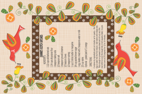 Jeannie's Scotch Oatcakes Tea Towel fabric by vanillabeandesigns on Spoonflower - custom fabric