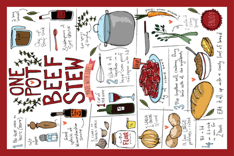 One pot beef stew made with love fabric by laurawrightstudio on Spoonflower - custom fabric