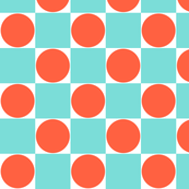 Aqua Blue & Orange Dots Retro Checkered Pattern