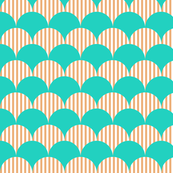 Ocean Blue and Sand Scallop Pattern Design