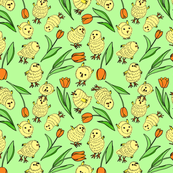 Tulips & chicks - green