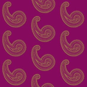 Provence ~ Paisley ~ Embroidered Gold on Pompadour Purple