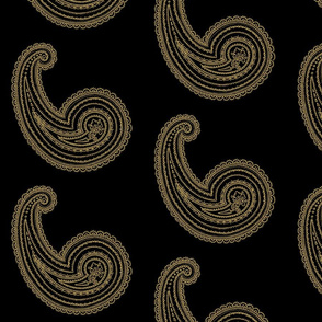 Provence ~ Paisley ~ Embroidered Gold on Blackmail