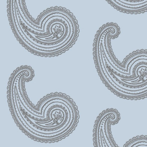 Provence ~ Paisley ~ Embroidered Silver on Versailles Fog