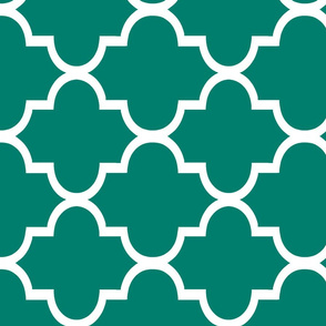 Railroaded Quatrefoil in Blue-Green