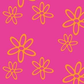 Floral Simplicity 01 - Orange on Pink