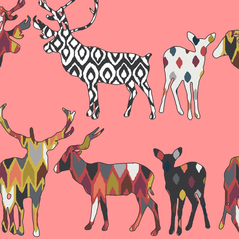 spice deer blush salmon fabric by scrummy on Spoonflower - custom fabric