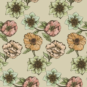 Hand Illustrated Vintage Floral Pattern