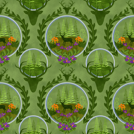 the stag in the terrarium forest fabric by vo_aka_virginiao on Spoonflower - custom fabric