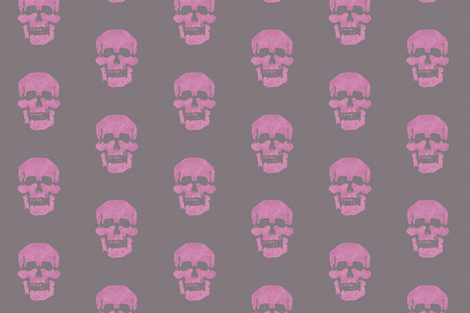 Skull in magenta-pink with mousy brown-gray background