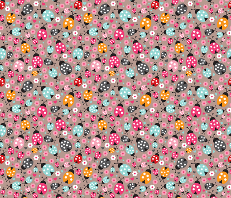 Colorful lady bugs illustration pattern for girls fabric by littlesmilemakers on Spoonflower - custom fabric