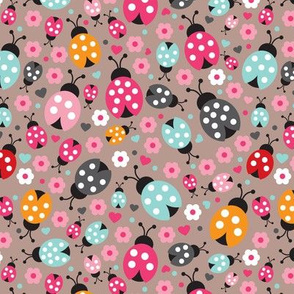 Colorful lady bugs illustration pattern for girls