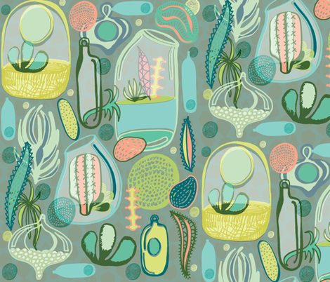 Contained Cacti fabric by slumbermonkey on Spoonflower - custom fabric