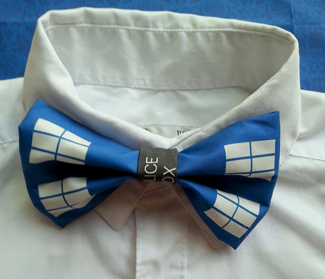 Tardis Inspired Bow or Bow Tie Set