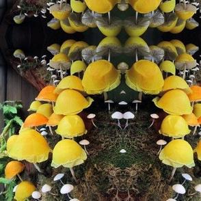 Vibrant Yellow Mushroom Garden