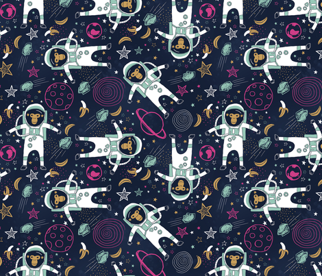 Chimps In Space fabric by annewashere on Spoonflower - custom fabric