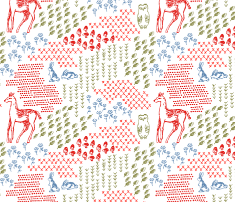 Elements of a Woodland Terrarium fabric by janetdrummond on Spoonflower - custom fabric