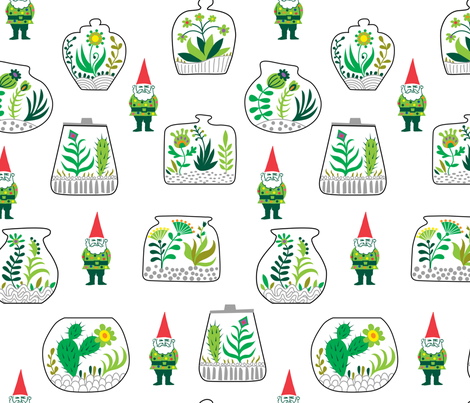 Terrariums and Gnomes fabric by andibird on Spoonflower - custom fabric