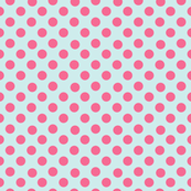 Pink Polka Dots on a Paris Blue background