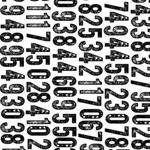 Random Number Generator (Railroaded) || black and white rubber stamp letterpress texture numbers distressed wood type punk emo