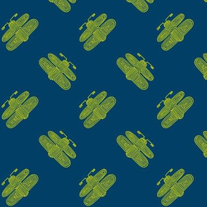 aztec fireflies - yellow on blue