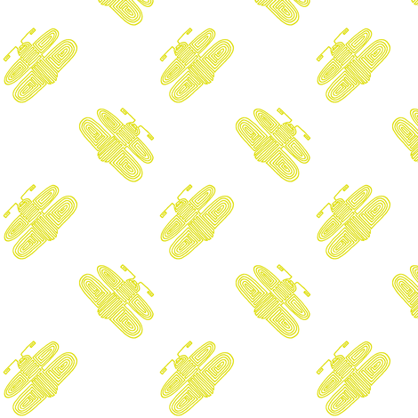 aztec fireflies - yellow on white fabric by weavingmajor on Spoonflower - custom fabric