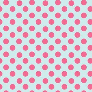 Pink Polka Dots on Paris Blue small
