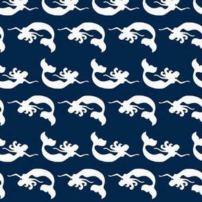 Mermaid Swimming Navy