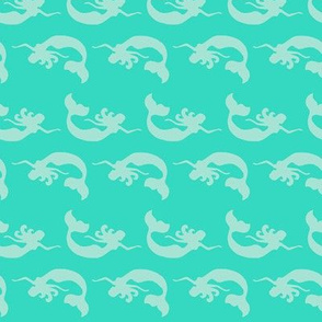 Mermaid Swimming Mint Tonal