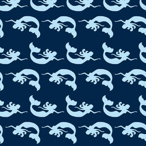 Mermaid Swimming Navy Light Blue