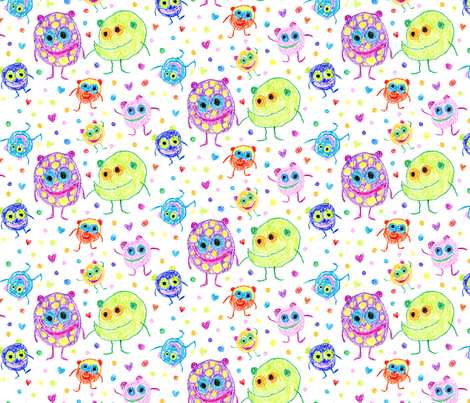 Lovey Monsters fabric by lizapoi on Spoonflower - custom fabric