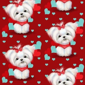 Maltese Red and  Hearts