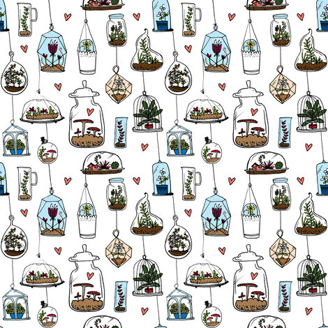 Hanging garden fabric by laura_the_drawer on Spoonflower - custom fabric