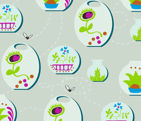 Venus Flytrap Terrariums fabric by goodluckhoney on Spoonflower - custom fabric