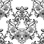 Sugar Skull Sphynx Cat Damask White