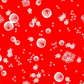 Butterfly Bubbles - Cardinal Red/White by Andrea Lauren