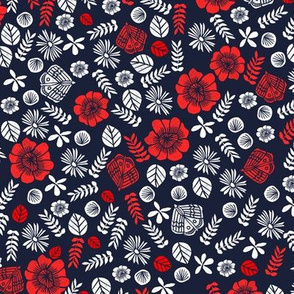 Scattered Butterfly Garden - Cardinal Red/White/Imperial Blue