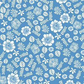 Scattered Butterfly Garden - Cerulean/White by Andrea Lauren