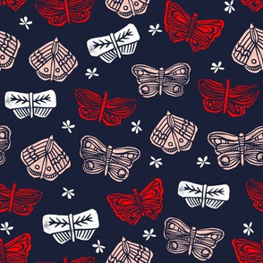 Butterflies - Imperial Blue/Cardinal Red/Pale Pink by Andrea Lauren