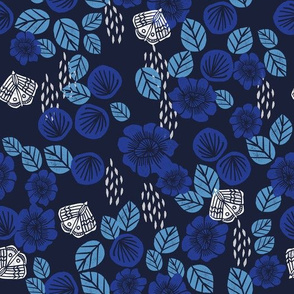 Butterfly Garden - Imperial Blue/Cerulean/Cobalt Blue/White by Andrea Lauren