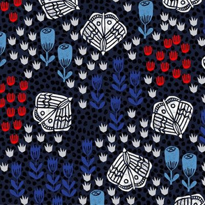 Butterfly Blooms - Imperial Blue/Cardinal Red/Cerulean/Cobalt Blue by Andrea Lauren